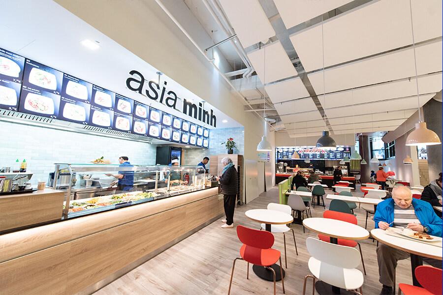 Food Court im Haerder Center mit verschiedenen Restaurants